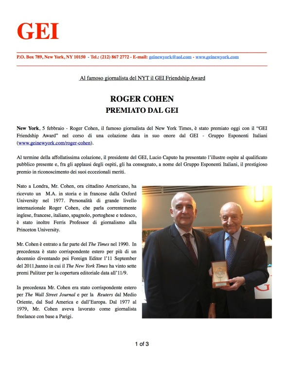 GEI AWARD to R. Cohen