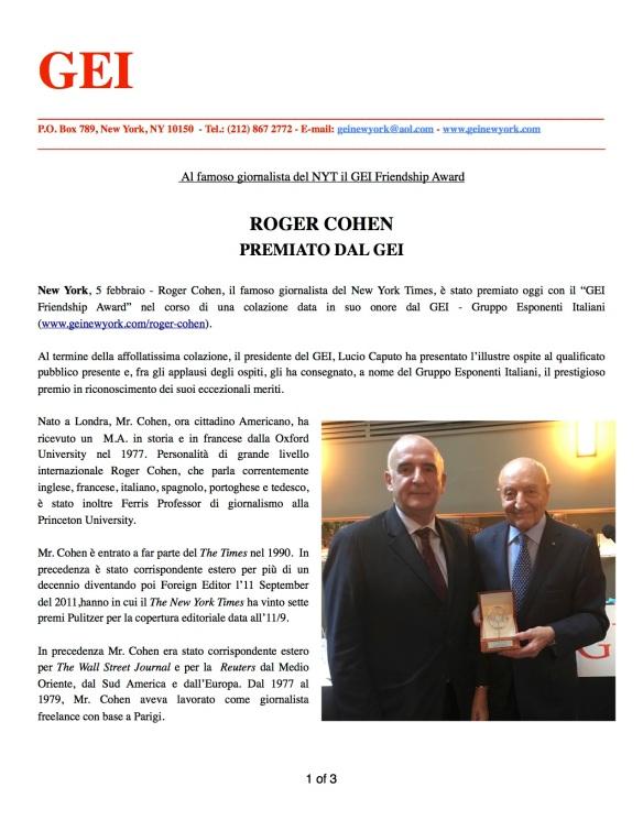 GEI AWARD to R. Cohen